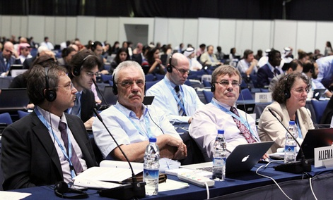 German delegates on the fourth day of the 12-day-long World Conference on International Telecommunications