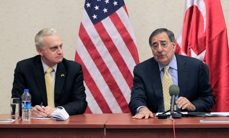 Leon Panetta, right, and Ambassador to Turkey Francis Ricciardone spoke about the plan Friday in Ankara.
