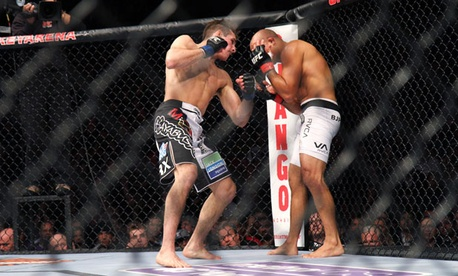 BJ Penn, right, fights Rory MacDonald in an Ultimate Fighting Championship match in December.