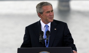 Former President George W. Bush speaks in Budapest, Hungary, June 22, 2006