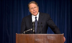 NRA's Wayne LaPierre spoke at a pres briefing Friday in Washington.
