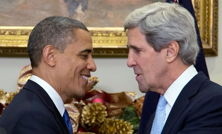 Obama introduced John Kerry as the nominee at a press conference Friday.
