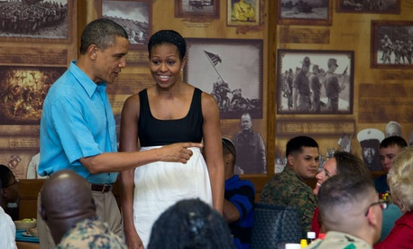 The Obamas met with military families Tuesday in Hawaii.