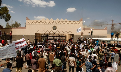 Yemenis protest in front of the U.S. Embassy in Sanaa, Yemen.