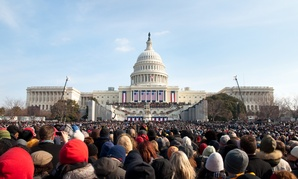 January 20, 2009: A crowd of warmly dressed onlookers attends the 2009 inauguration of President Barack Obama.