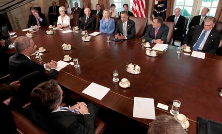 President Obama speaks during a cabinet meeting in 2011.