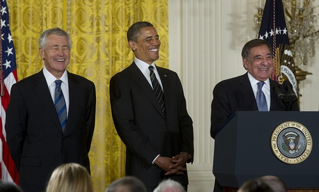 Sen. Chuck Hagel, President of the United States Barack Obama and Secretary of Defense Leon E. Panetta share a laugh at the nomination announcement for Hagel as the next Secretary of Defense at the White House, Jan. 7, 2013. 