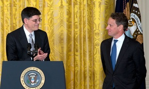 Obama has nominated Jacob Lew, left, to replace Timothy Geithner at Treasury.