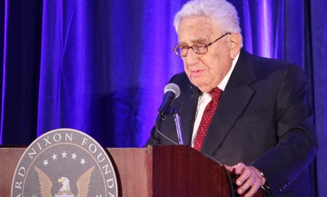 Former secretary of state Henry Kissinger praises President Richard Nixon's role as a peacemaker at the Richard Nixon Foundation's Centennial Birthday Gala on Wednesday at the Mayflower Renaissance Hotel in Washington. SHFWire photo by Ian Kullgren