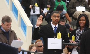 Inaugural Capitol coordinator Matt McGowan, left, directs Air Force Staff Sgt. Serpico Elliott and Army Spc. Delandra Rollins as they stand in for President Barack Obama and first lady Michelle Obama during an inauguration rehearsal Sunday.