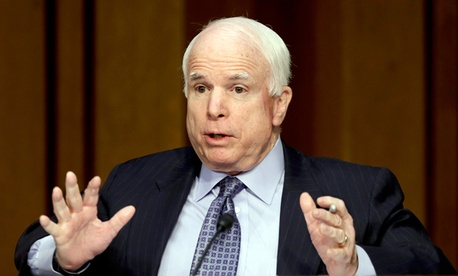 Sen. John McCain, R-Ariz., questions Secretary of State Hillary Clinton on the deadly September attack on the U.S. diplomatic mission in Benghazi.