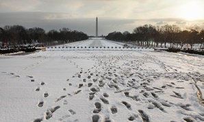January snow is a regular occurrence, such as in 2011, when footprints were evident  after a storm.