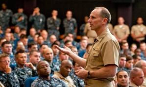 U.S. Navy, Chief of Naval Operations Adm. Jonathan Greenert speaks to sailors during a visit to Pearl Harbor, Hawaii last year.