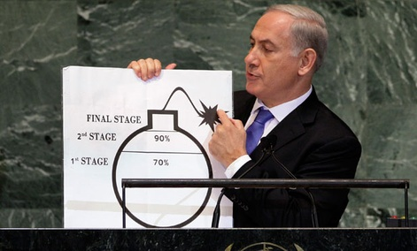 Israeli Prime Minister Benjamin Netanyahu used a cartoon bomb diagram during a speech last year to illustrate Iran's progress.