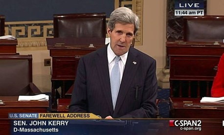 Sen. John Kerry, D-Mass. giving his last speech as senator, Wednesday, Jan. 30, 2013, on the floor of the Senate. (AP Photo/CSPAN2)