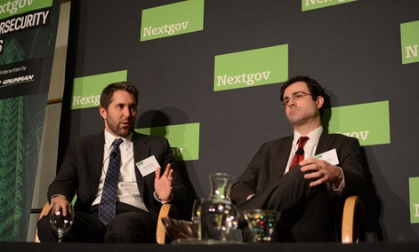 Kevin Gronberg, left, and Andrew Grotto discussed the need for cybersecurity reform.
