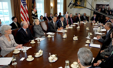 President Barack Obama speaks during a cabinet meeting in the Cabinet Room of the White House in Washington, Tuesday, Jan. 31, 2012.