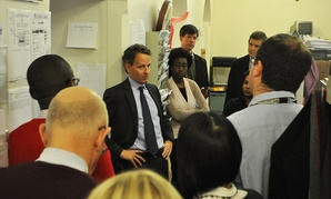 Secretary Geithner drops by the Treasury press room on his final day in office.