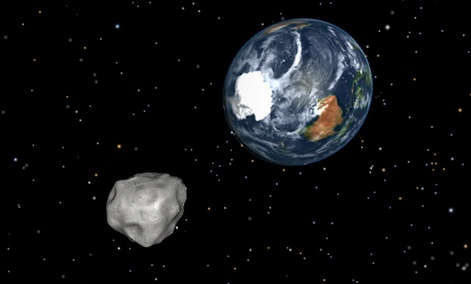 A simulation of asteroid 2012 DA14 approaching from the south as it passes through the Earth-moon system on Feb. 15, 2013.