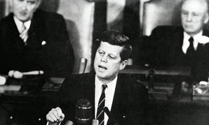 Speaking to Congress and the nation at the joint session of Congress on May 25, 1961.