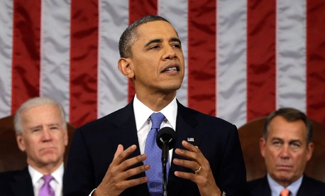 President Obama delivering his 2013 State of the Union address.