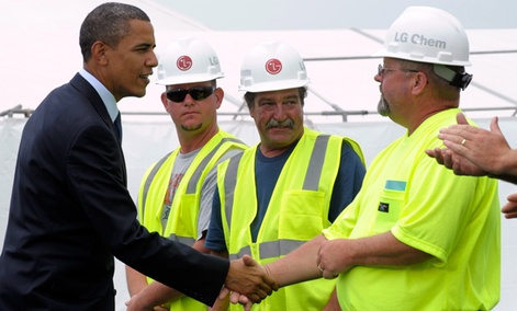President Obama greets workers in 2010, at the groundbreaking ceremony at LG Chem Michgan Inc., then known as Compact Power Inc., a battery plant in Holland, Mich. 