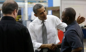 Obama visited with workers at Linamar Corporation in Arden, N.C., Wednesday.