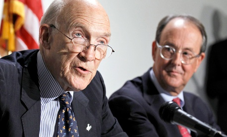 Erskine Bowles right, and former Wyoming Sen. Alan Simpson