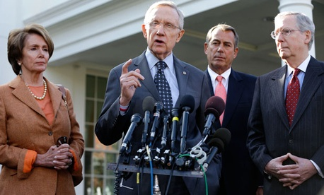 Rep. Nancy Pelosi, D-Calif., Sen. Harry Reid, D-Nev., Rep. John Boehner, R-Ohio, and Sen. Mitch McConnell, R-Ky., met with Obama in November to discuss the deficit. 