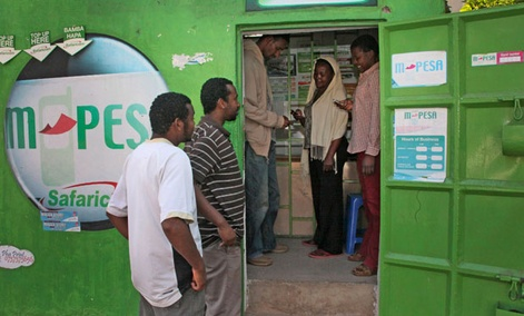 Users visit an M-Pesa location in Nairobi in 2011.