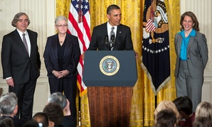 Obama introduced nominess, from left, Ernest Moniz, Gina McCarthy and Sylvia Mathews Burwell Monday.