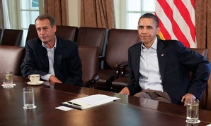 Obama and Boehner met in 2011 to discuss the debt in the White House's Cabinet Room.