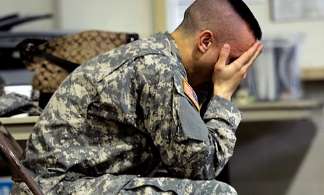 A soldier at the beginning of a Post Deployment Health Reassessment event at the Pennsylvania Army National Guard Armory in Lock Haven, Pa.,