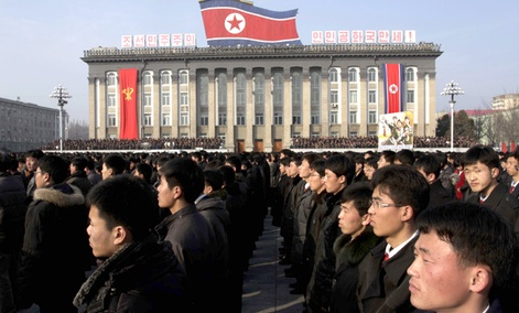 North Koreans attend a rally in support of a statement by a spokesman for the Supreme Command of the Korean People&#39;s Army vowing to cancel the 1953 cease-fire that ended the Korean War.