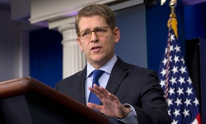 White House press secretary Jay Carney talks to reporters during regular press briefings at the White House.