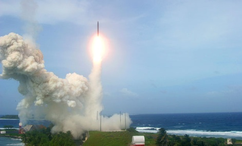 A U.S. ballistic missile interceptor takes off in a Jan. 26 flight test from California.