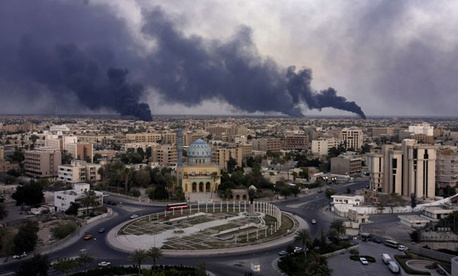 The first weeks of the Iraq War included bombing of Baghdad targets in March, 2003.