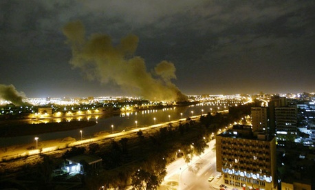 Smoke rises from the Trade Ministry on March 20, 2003.