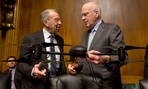 Sen. Patrick Leahy, D-Vt., holds an example of a drone, as he talks with the Sen. Charles Grassley, R-Iowa, Wednesday.