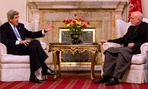 Secretary of State John Kerry meets with Afghan President Hamid Karzai at the Presidential Palace in Kabul.