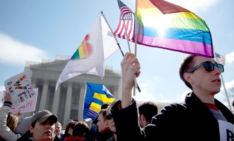 Protesters gather in front of the U.S. Supreme Court, on the second day of gay marriage cases.