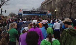 The Rock N' Roll Marathon gets underway the morning of March 16 under threatening skies on Constitution Ave in Washington, D.C. The Department of Commerce building is at right.