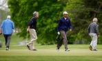 Barack Obama played with, from left, Sen. Saxby Chambliss, R-Ga., Sen. Mark Udall, D-Colo., and Sen. Bob Corker, R-Tenn.