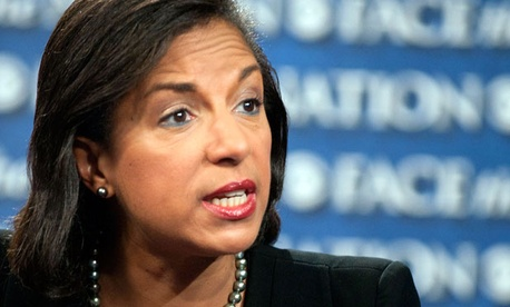 "Susan Rice, U.S. ambassador to the U.N. speaks on ""Face the Nation"" in Washington, Sunday, Sept. 16, 2012."