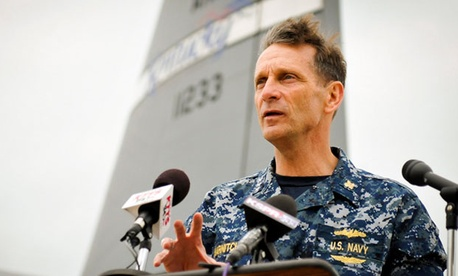 Vice Adm. Mark D. Harnitchek speaking at an event in May, 2011