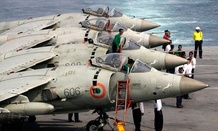 Indian Navy&#39;s Supersonic Sea Harriers fighter aircrafts are prepared for a display during an exercise on board Indian Navy vessel INS Virat in the Arabian Sea. 