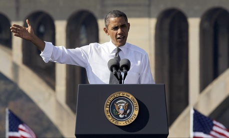 Barack Obama spoke at the Key Bridge in Washington to promote infrastructure programs in 2011.