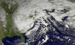NOAA satellite image taken Tuesday, Oct. 30, 2012, shows superstorm Sandy slowly moving westward.