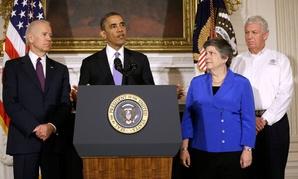 President Obama on Tuesday, accompanied by, from left, Vice President Joe Biden, Homeland Security Secretary Janet Napolitano and FEMA Deputy Administrator Richard Serino
