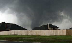 A tornado moves through Moore, Oklahoma.